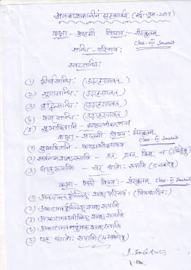 Class 6 to 8 Sanskrit - Holiday HW